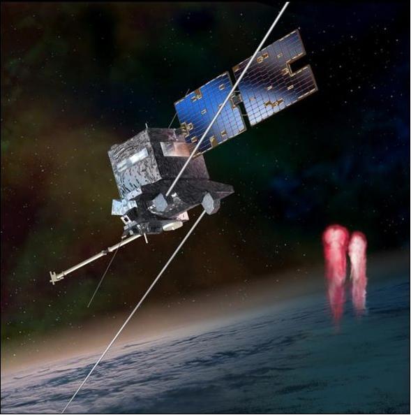 Družice TARANIS ve výtvarníkově představě. (zdroj: CNES, autor D. Ducros)