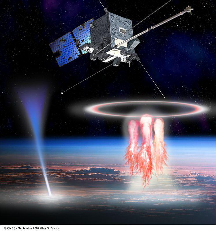 Družice TARANIS v představě výtvarníka a vypravo skřítci, vlevo modré výtrysky (zdroj: CNES, autor D. Ducros)